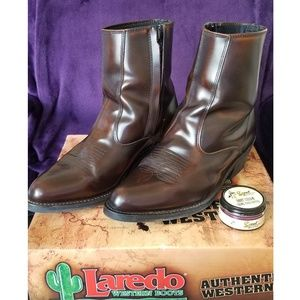 LAREDO MENS BROWN LEATHER SIDE ZIP COWBOY BOOTS